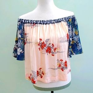 FREE PEOPLE Boho off the shoulder crop top size XS